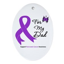 Pancreatic Cancer Dad Oval Ornament