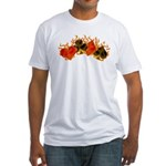 Burning Card Suits Fitted T-Shirt
