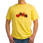 Burning Card Suits Yellow T-Shirt