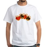 Burning Card Suits White T-Shirt