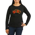 Burning Card Suits Women's Long Sleeve Dark T-Shir