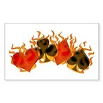 Burning Card Suits Sticker (Rectangle)