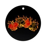 Burning Card Suits Ornament (Round)