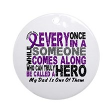 Hero Comes Along Dad Pancreatic Cancer Ornament (R