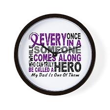 Hero Comes Along Dad Pancreatic Cancer Wall Clock
