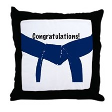 Martial Arts Congrats Blue Belt Throw Pillow