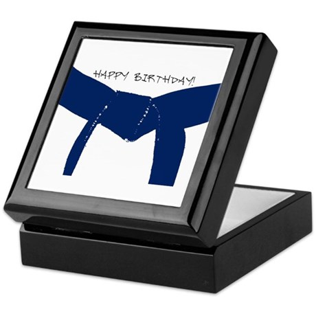 Dark Blue Belt Happy Birthday Keepsake Box