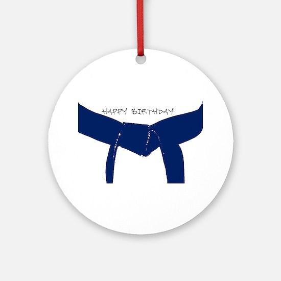 Dark Blue Belt Happy Birthday Ornament (Round)