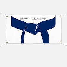 Dark Blue Belt Happy Birthday Banner