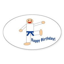 Martial Arts Dk Blue Belt Birthday Sticker 10PK