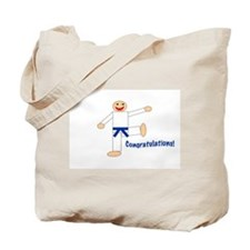 Dark Blue Belt Congratulations Tote Bag