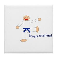 Dark Blue Belt Congratulations Tile Coaster
