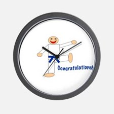Dark Blue Belt Congratulations Wall Clock