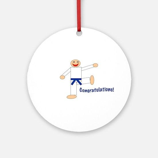 Dark Blue Belt Congratulations Ornament (Round)