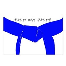 Lt Blue Belt Birthday Party Invitations Postcards
