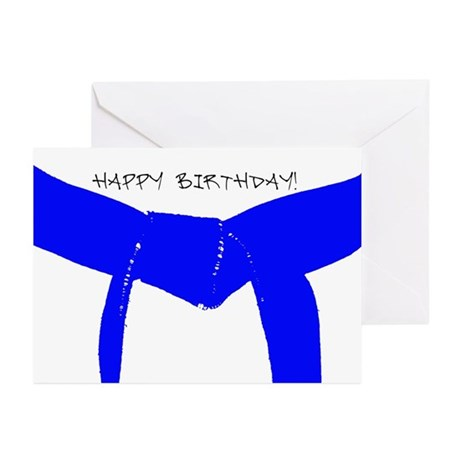 Lt Blue Belt Happy Birthday Cards 10PK