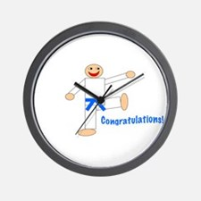Light Blue Belt Congratulations Wall Clock