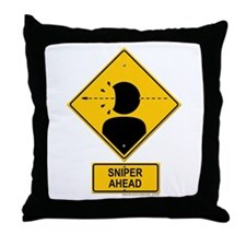 Sniper Warning - Rifle Throw Pillow