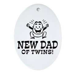 New Dad of Twins Oval Ornament