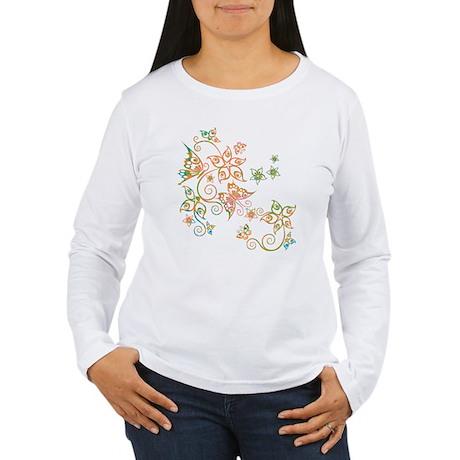 Flowers & Butterflies Women's Long Sleeve T-Shirt