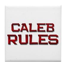 caleb rules Tile Coaster