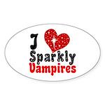 I Love Sparkly Vampires Oval Sticker (50 pk)