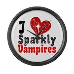 I Love Sparkly Vampires Large Wall Clock
