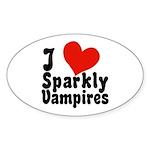 I Love Sparkly Vampires Oval Sticker