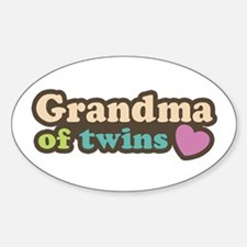 Grandma of Twins Oval Decal