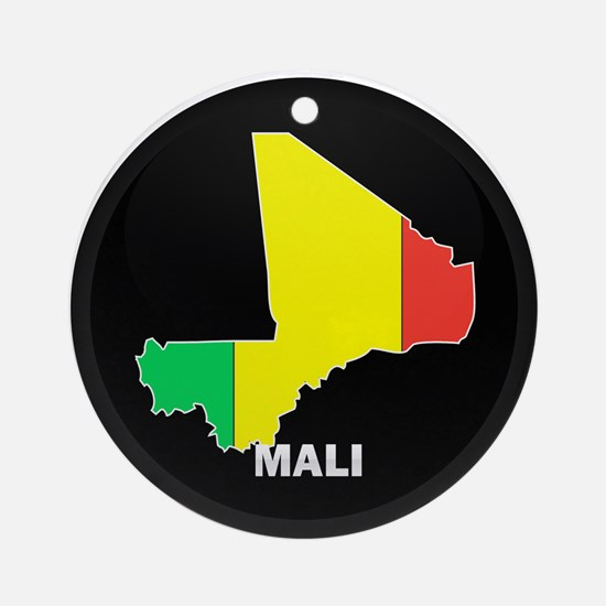 Flag Map of mali Ornament (Round)