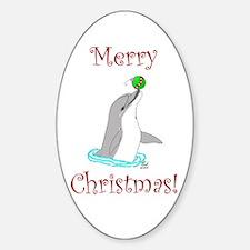 Christmas Dolphin Oval Decal
