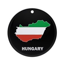 Flag Map of Hungary Ornament (Round)