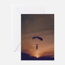 6 Greeting Cards with Sunset Skydiver