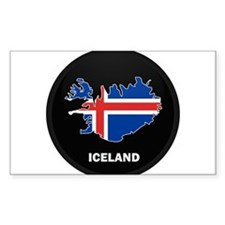Flag Map of Iceland Rectangle Decal