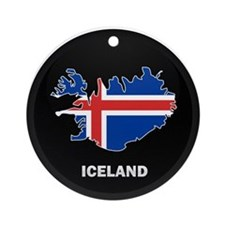 Flag Map of Iceland Ornament (Round)