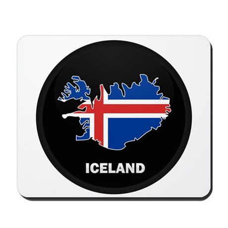 Flag Map of Iceland Mousepad