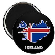 Flag Map of Iceland Magnet