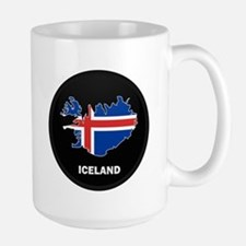 Flag Map of Iceland Large Mug