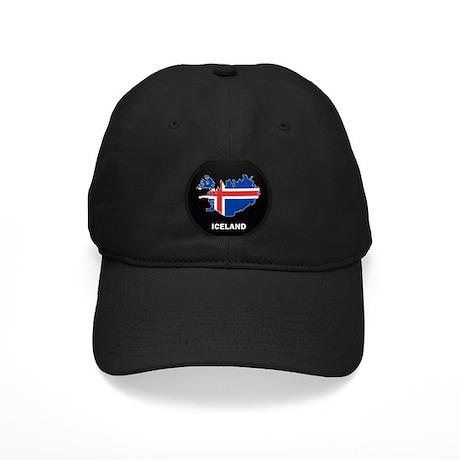 Flag Map of Iceland Black Cap
