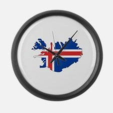Iceland Flag Map Large Wall Clock
