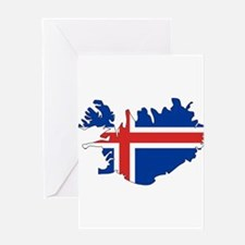 Iceland Flag Map Greeting Card