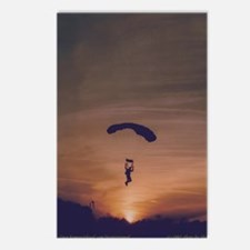 8 Postcards with a skydiver at sunset