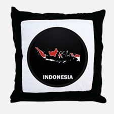 Flag Map of Indonesia Throw Pillow