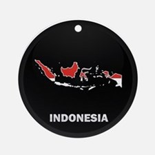 Flag Map of Indonesia Ornament (Round)