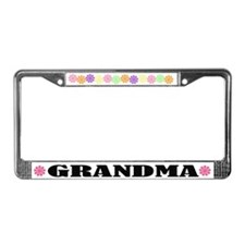 Flower Power Grandma License Plate Frame