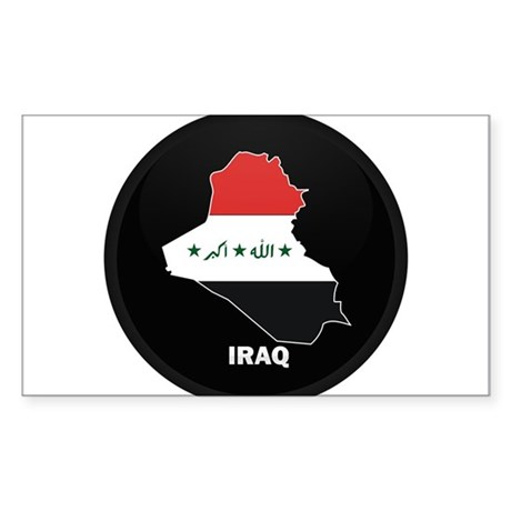 Flag Map of Iraq Rectangle Sticker