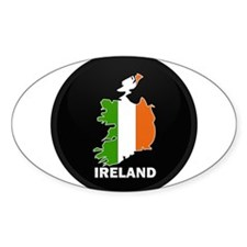 Flag Map of Ireland Oval Decal