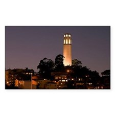 Coit Tower at Night Rectangle Decal