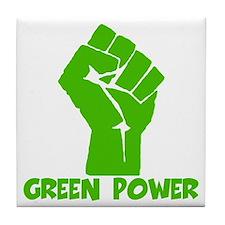 Green power Tile Coaster