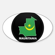 Flag Map of Mauritania Oval Decal